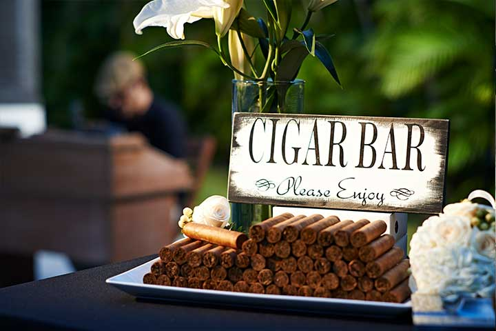 Cigar bar for a wedding